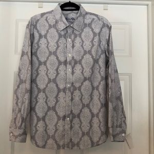 Tasso Elba Gray &White Dress Shirt L 16-16 1/2